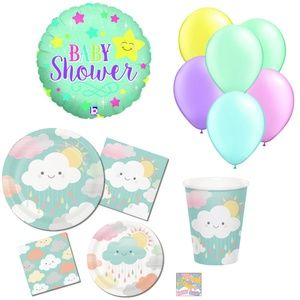 Baby Shower Party Kit Plates Cups Napkins Balloons
